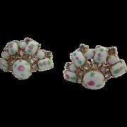 Wonderful Art Glass Rhinestone Fan Shape Vintage Screw Back Earrings