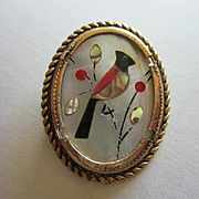 Lovely Vintage Inlaid Mother of Pearl MOP Carnelian Onyx Oval Bird Brooch Pin