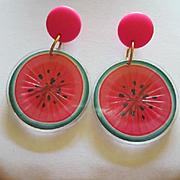 Funky Fun Watermelon Earrings Vintage Signed Avon
