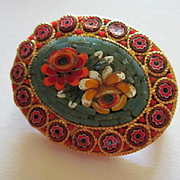 Vintage Mosaic Colorful Flower Brooch Pin Italy