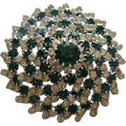 Gorgeous Emerald Green and Clear Crystal Rhinestone High Domed Vintage Brooch Pin