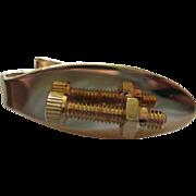 Unique Screw and Nut Hardware Vintage Tie Tack Signed Robbins Co Attleboro