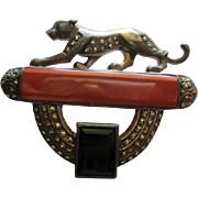Art Deco Marcasite Sterling Silver Panther Carnelian Onyx Vintage Brooch Pin