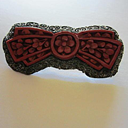 Antique Chinese Export Cinnabar Bow  Rare Vintage Brooch Pin