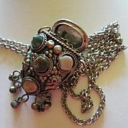 Vintage Semi Precious Stone Perfume Vessel on long Silver Rolo Chain