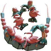 Incredible Flamingos Polymer Clay Hand made Whimsical Necklace Post Earrings Vintage Set