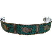 Taxco Sterling Silver Turquoise Inlaid Thunderbird Hand Made Vintage Bracelet 925 Mexico