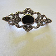 Lovely Onyx Marcasite Sterling Silver Vintage Bar Pin Signed