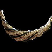 Stunning Swarovski Clear Crystal Black Enamel Elegant Vintage Necklace Swan Mark