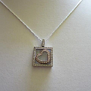 Sterling Silver and Genuine Diamond Heart signed EW 925 Vintage Necklace
