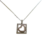 Sterling Silver and Diamond Heart signed EW 925 Necklace