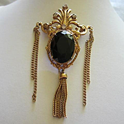 FLORENZA Onyx Black Faceted Glass Paste Rhinestone Signed Vintage Statement Brooch Pin