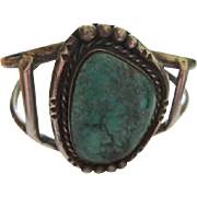 Native American Huge Turquoise Sterling Silver Hand Made Vintage Cuff Bracelet 925