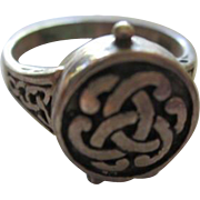 Fabulous Celtic Secret Compartment Sterling Silver Vintage Ring Opens Signed 925
