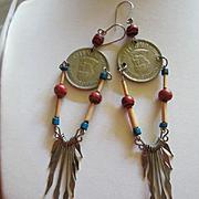 Funky Boho Peruvian Coin Dangle Vintage Earrings