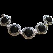 Sarah Coventry Wide Silver tone Black Cab Stunning Vintage Bracelet Excellent