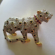 Signed Swarovski Pave Crystal Panther Figural Animal Brooch 22kt Gold Plating RARE