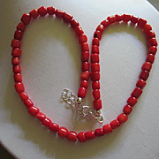Wonderful Genuine Coral Vintage Necklace with Extender