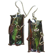Stunning Mystic Topaz Rainbow Sterling Silver 925 Hand made Vintage Earrings