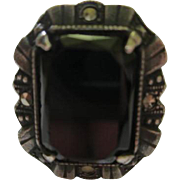 Art Deco Onyx Marcasite Sterling Silver Vintage Ring