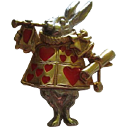RARE Alice in Wonderland Figural Pin Rabbit Guard Queen of Hearts Costume MMA 1991 Vintage Pin Pendant