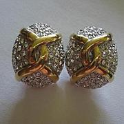 Carolee Elegant Sparkling Pave Statement Vintage Clip Earrings