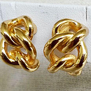 Christian Dior Classic Chain Gold tone Vintage Clip Earrings Excellent