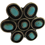 Native American Turquoise  Petit Point Sterling Silver Vintage Ring