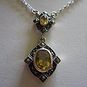Art Deco Style Citrine Marcasite Double Dangling Sterling Silver 925  Pendant Necklace
