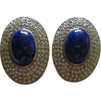 Stunning Lapis Sparkling Pave Set Clear Crystals Bold Oval Statement Vintage Clip Earrings