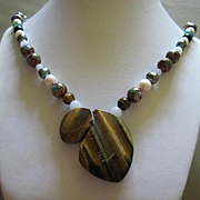 Stunning Artist OAK  Tiger Eye Genuine Pearls Gemstones Cloissone Sterling Silver Hand Made Vintage Necklace