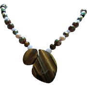 Stunning Artist OAK  Tiger Eye Genuine Pearls Gemstones Cloissone Sterling Silver Hand Made Vintage Necklace