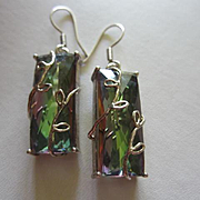 Stunning Swarovski Rainbow Crystals set in Sterling Silver 925 Hand made Vintage Earrings