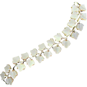 Lovely Wide White Pearlized Leaf Thermoset Double Row Vintage Bracelet 1950s