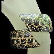 Fabulous Wide Lucite Confetti Chain Clamper Vintage Bracelet 1950s