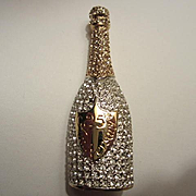 Sparkling Carolee Limited Edition 1997 Champagne Bottle Rhinestone Crystal Vintage Brooch Pin