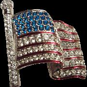 Swarovski Swan Logo Signed Enamel Crystal Enamel USA American Flag Patriotic Vintage Brooch Pin