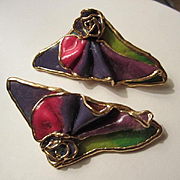 Lacombe Signed Whimsical Rainbow Vintage Clip Earrings 1980s