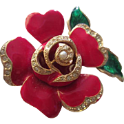 Gorgeous Signed Red Enamel Pave Flower Figural Vintage Brooch Pin
