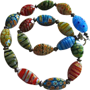 Venetian Millefiori Hand Blown Colorful Vintage Glass Bead Necklace