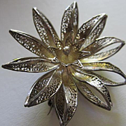 Beautiful European Filigree Hand Made Vintage Silver Flower Brooch Pin