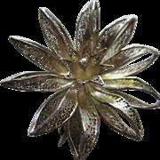 Beautiful European Filigree Hand Made Vintage Silver Flower Brooch Pin