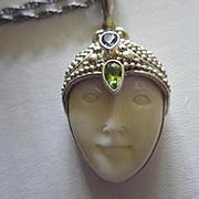 Sajen Signed Sterling Silver Goddess Face Gemstone Vintage Pendant Necklace 925