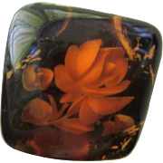 Fabulous Reverse Carved Amber Lucite Flower Vintage Ring