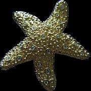 Swarovski Figural Star Fish Gold tone Retired Vintage Brooch Pin Swan Mark