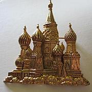 Iconic Kremlin Signed Antique Gold finish Vintage Figural Brooch Pin
