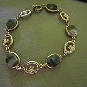 Fabulous Art Deco Nephrite Spinach Jade Claddagh Gold Plated Vintage Bracelet