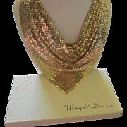 Spectacular Whiting and Davis Gold Metallic Mesh Drape Scarf Bib Vintage Necklace Original Box