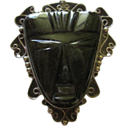Fabulous Taxco Mayan Face Mask Sterling Silver Elaborate Huge Statment Vintage Brooch Pin Pendant