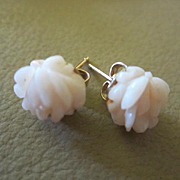 Carved Pale Angel Skin Coral Flower Vintage Pierced  Earrings Marked 14K GF